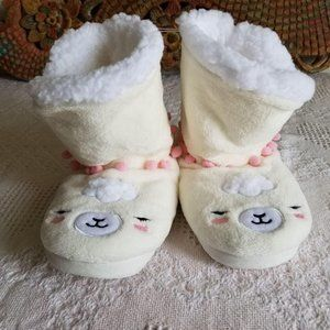 Justice Fleece Boot Lamb Slippers Size 2-5 JJ281